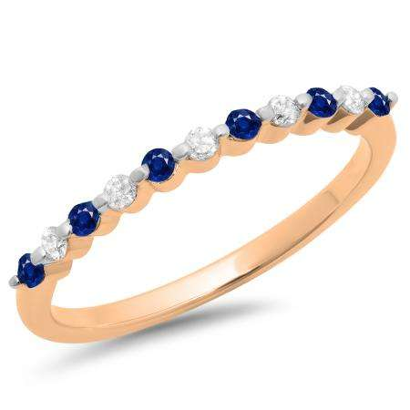 0.25 Carat (ctw) 10K Rose Gold Round Blue Sapphire & White Diamond Ladies 11 Stone Anniversary Wedding Stackable Band 1/4 CT
