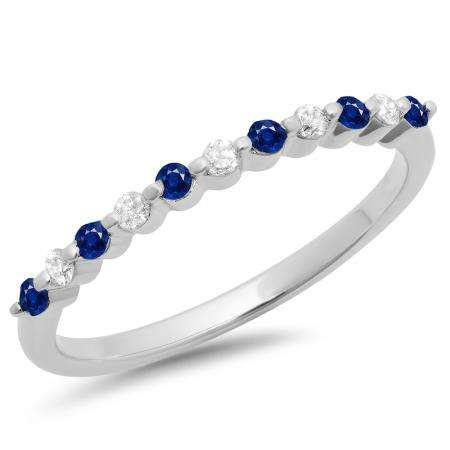 0.25 Carat (ctw) 10K White Gold Round Blue Sapphire & White Diamond Ladies 11 Stone Anniversary Wedding Stackable Band 1/4 CT