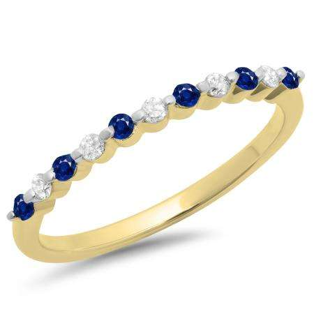 0.25 Carat (ctw) 18K Yellow Gold Round Blue Sapphire & White Diamond Ladies 11 Stone Anniversary Wedding Stackable Band 1/4 CT