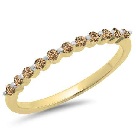 0.25 Carat (ctw) 14K Yellow Gold Round Champagne Diamond Ladies 11 Stone Anniversary Wedding Stackable Band 1/4 CT