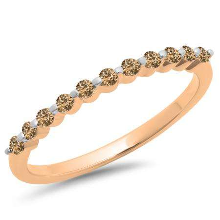 0.25 Carat (ctw) 18K Rose Gold Round Champagne Diamond Ladies 11 Stone Anniversary Wedding Stackable Band 1/4 CT