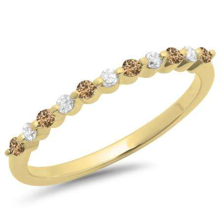 0.25 Carat (ctw) 10K Yellow Gold Round Champagne & White Diamond Ladies 11 Stone Anniversary Wedding Stackable Band 1/4 CT