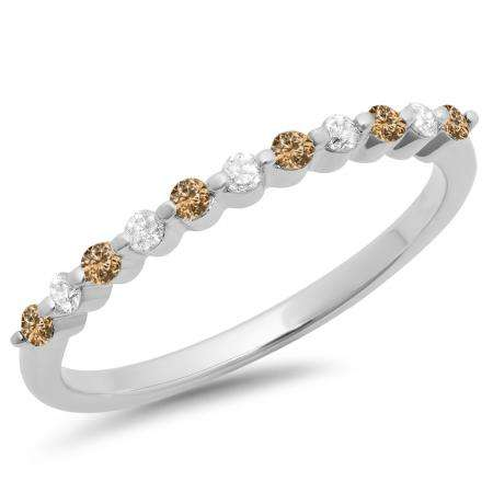 0.25 Carat (ctw) 14K White Gold Round Champagne & White Diamond Ladies 11 Stone Anniversary Wedding Stackable Band 1/4 CT