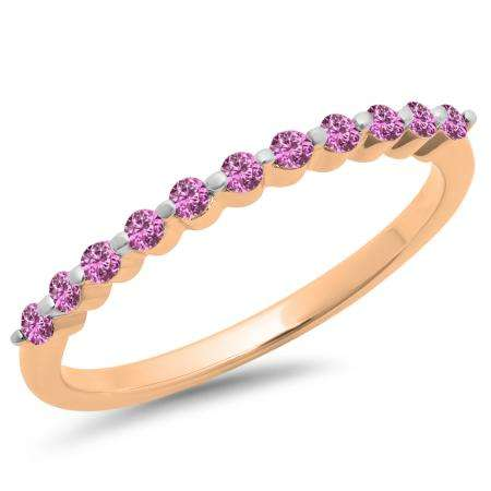 0.25 Carat (ctw) 10K Rose Gold Round Pink Sapphire Ladies 11 Stone Anniversary Wedding Stackable Band 1/4 CT