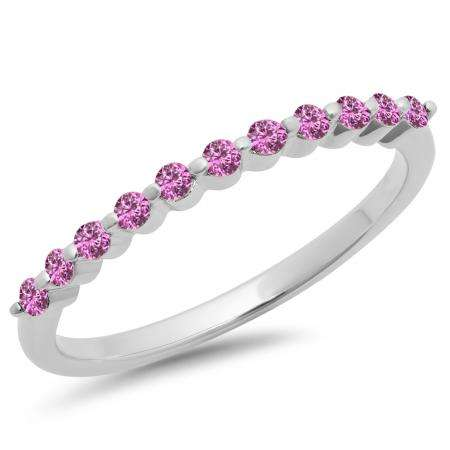 0.25 Carat (ctw) 10K White Gold Round Pink Sapphire Ladies 11 Stone Anniversary Wedding Stackable Band 1/4 CT