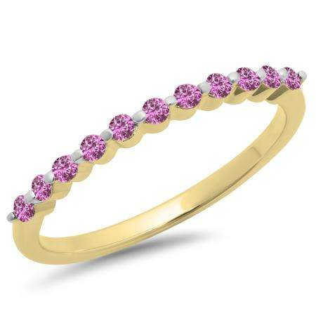 0.25 Carat (ctw) 10K Yellow Gold Round Pink Sapphire Ladies 11 Stone Anniversary Wedding Stackable Band 1/4 CT