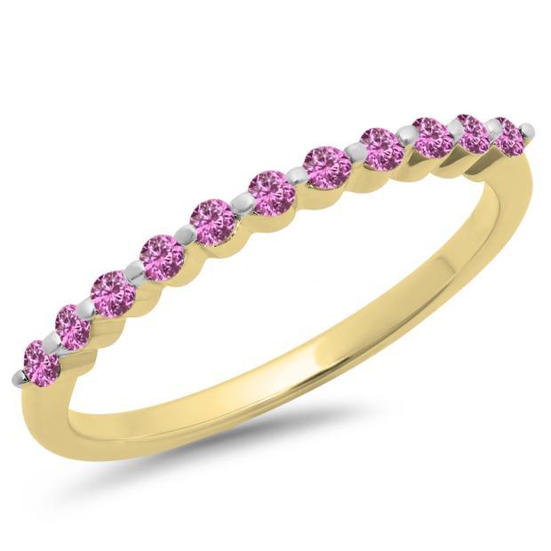 0.25 Carat (ctw) 18K Yellow Gold Round Pink Sapphire Ladies 11 Stone Anniversary Wedding Stackable Band 1/4 CT