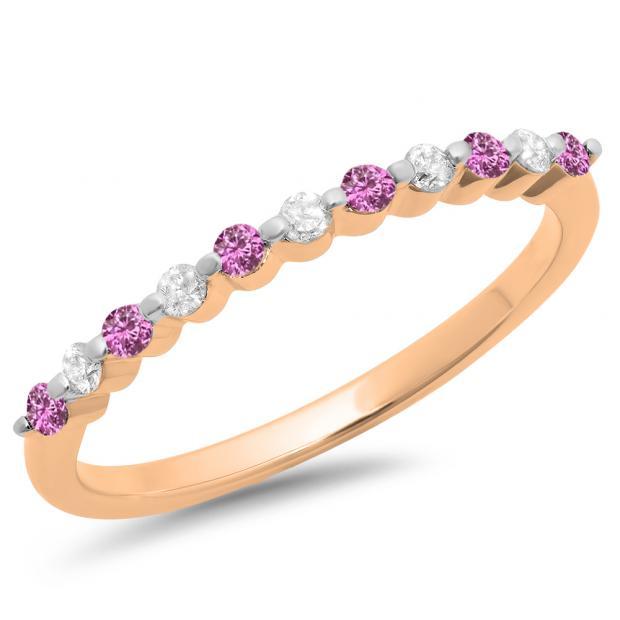 0.25 Carat (ctw) 10K Rose Gold Round Pink Sapphire & White Diamond Ladies 11 Stone Anniversary Wedding Stackable Band 1/4 CT