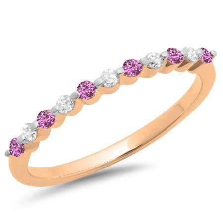 0.25 Carat (ctw) 14K Rose Gold Round Pink Sapphire & White Diamond Ladies 11 Stone Anniversary Wedding Stackable Band 1/4 CT