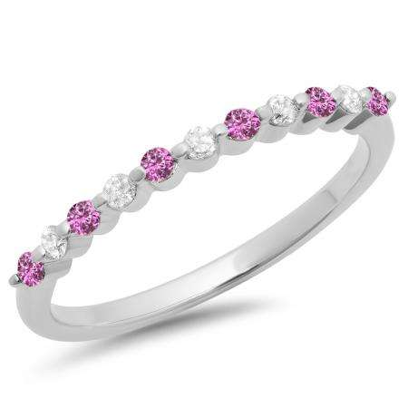0.25 Carat (ctw) 14K White Gold Round Pink Sapphire & White Diamond Ladies 11 Stone Anniversary Wedding Stackable Band 1/4 CT