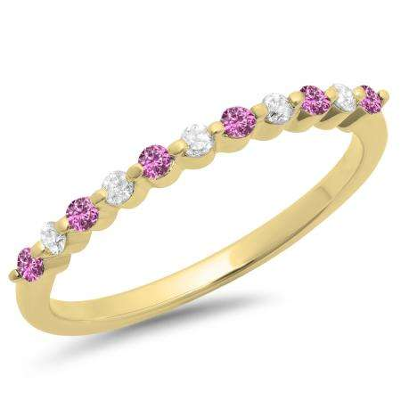 0.25 Carat (ctw) 18K Yellow Gold Round Pink Sapphire & White Diamond Ladies 11 Stone Anniversary Wedding Stackable Band 1/4 CT