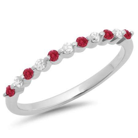 0.25 Carat (ctw) 10K White Gold Round Red Ruby & White Diamond Ladies 11 Stone Anniversary Wedding Stackable Band 1/4 CT