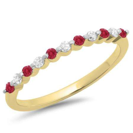 0.25 Carat (ctw) 10K Yellow Gold Round Red Ruby & White Diamond Ladies 11 Stone Anniversary Wedding Stackable Band 1/4 CT