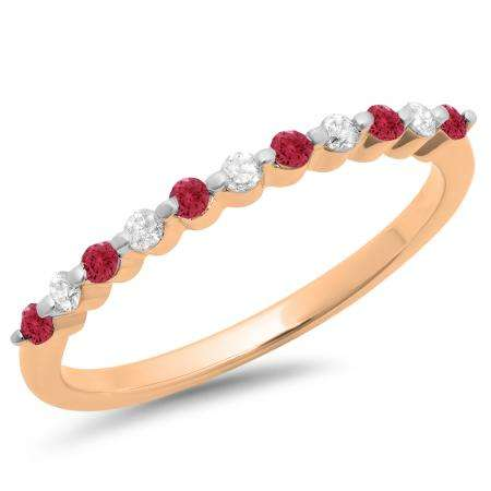 0.25 Carat (ctw) 18K Rose Gold Round Red Ruby & White Diamond Ladies 11 Stone Anniversary Wedding Stackable Band 1/4 CT