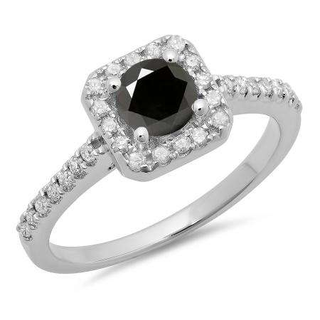0.90 Carat (ctw) 14K White Gold Round Black & White Diamond Ladies Bridal Halo Style Engagement Ring