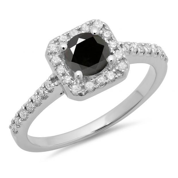 0.90 Carat (ctw) 18K White Gold Round Black & White Diamond Ladies Bridal Halo Style Engagement Ring
