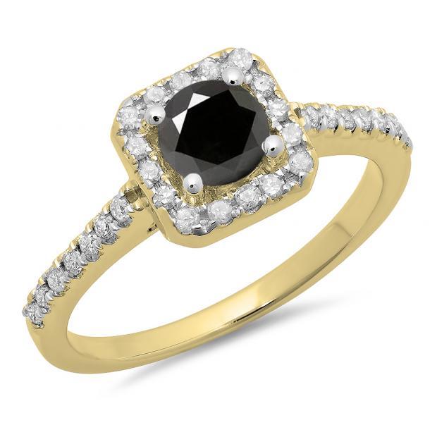 0.90 Carat (ctw) 18K Yellow Gold Round Black & White Diamond Ladies Bridal Halo Style Engagement Ring