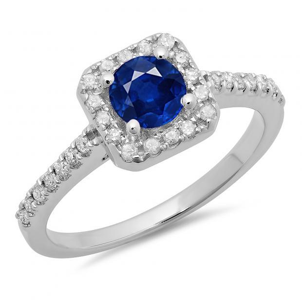 0.90 Carat (ctw) 18K White Gold Round Blue Sapphire & White Diamond Ladies Bridal Halo Style Engagement Ring