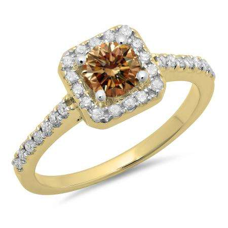 0.90 Carat (ctw) 14K Yellow Gold Round champagne & White Diamond Ladies Bridal Halo Style Engagement Ring