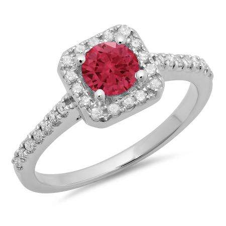0.90 Carat (ctw) 10K White Gold Round Red Ruby & White Diamond Ladies Bridal Halo Style Engagement Ring