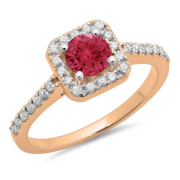 0.90 Carat (ctw) 18K Rose Gold Round Red Ruby & White Diamond Ladies Bridal Halo Style Engagement Ring