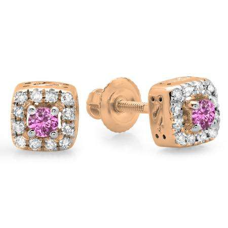 0.25 Carat (ctw) 10K Rose Gold Round Cut Pink Sapphire & White Diamond Ladies Square Frame Halo Stud Earrings 1/4 CT