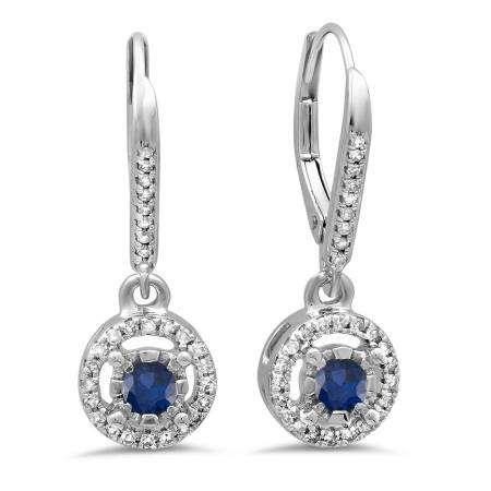 0.50 Carat (ctw) 10K White Gold Round Cut Blue Sapphire & White Diamond Ladies Cluster Halo Style Dangling Drop Earrings 1/2 CT