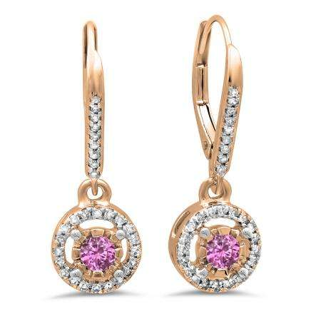 0.50 Carat (ctw) 14K Rose Gold Round Cut Pink Sapphire & White Diamond Ladies Cluster Halo Style Dangling Drop Earrings 1/2 CT