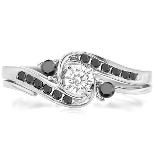 0.50 Carat (ctw) 10k White Gold Round Black And White Diamond Ladies Swirl Bridal Engagement Ring Matching Band Set 1/2 CT