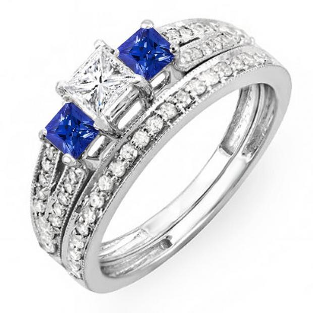 1.00 Carat (ctw) 10K White Gold Princess Cut Blue Sapphire Accent Stone & White Diamond Ladies 3 Stone Bridal Engagement Ring Set Matching Band 1 CT