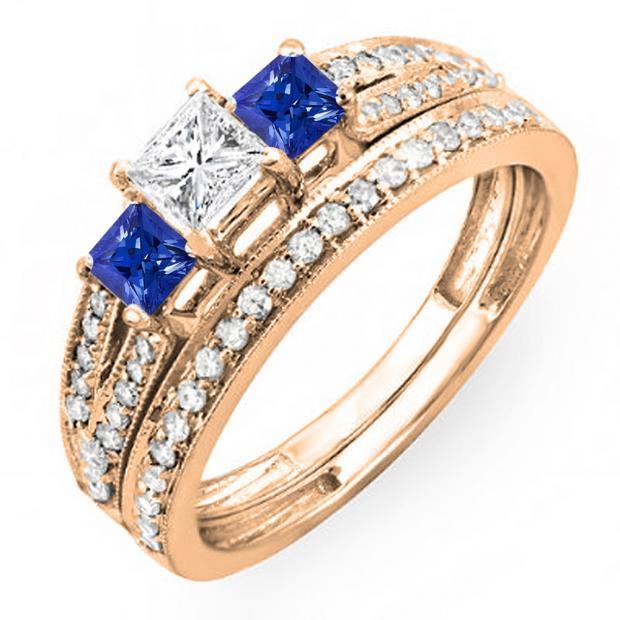 1.00 Carat (ctw) 14K Rose Gold Princess Cut Blue Sapphire Accent Stone & White Diamond Ladies 3 Stone Bridal Engagement Ring Set Matching Band 1 CT