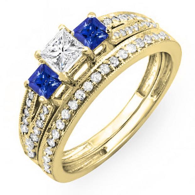 1.00 Carat (ctw) 18K Yellow Gold Princess Cut Blue Sapphire Accent Stone & White Diamond Ladies 3 Stone Bridal Engagement Ring Set Matching Band 1 CT