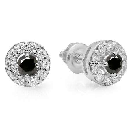 0.50 Carat (ctw) 18K White Gold Real Round Cut Black & White Diamond Ladies Cluster Stud Earrings 1/2 CT