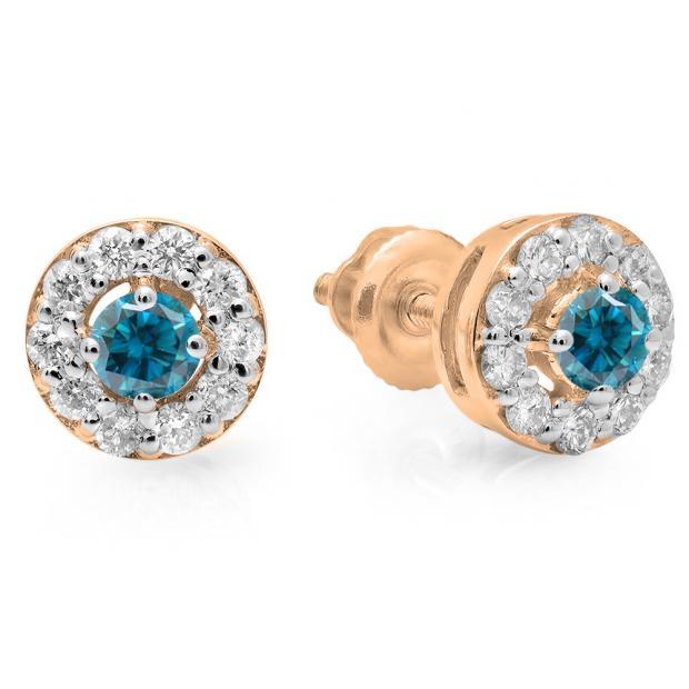 0.50 Carat (ctw) 14K Rose Gold Real Round Cut Blue & White Diamond Ladies Cluster Stud Earrings 1/2 CT