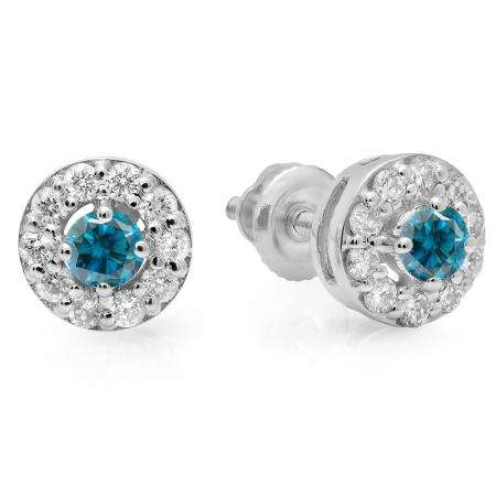 0.50 Carat (ctw) 14K White Gold Real Round Cut Blue & White Diamond Ladies Cluster Stud Earrings 1/2 CT