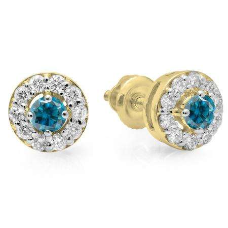 0.50 Carat (ctw) 14K Yellow Gold Real Round Cut Blue & White Diamond Ladies Cluster Stud Earrings 1/2 CT