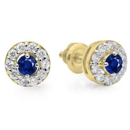 0.50 Carat (ctw) 10K Yellow Gold Real Round Cut Blue Sapphire & White Diamond Ladies Cluster Stud Earrings 1/2 CT