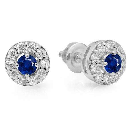 0.50 Carat (ctw) 18K White Gold Real Round Cut Blue Sapphire & White Diamond Ladies Cluster Stud Earrings 1/2 CT
