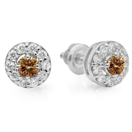 0.50 Carat (ctw) 14K White Gold Real Round Cut Champagne & White Diamond Ladies Cluster Stud Earrings 1/2 CT