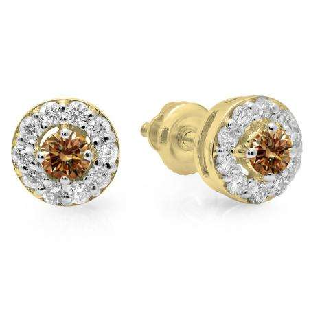 0.50 Carat (ctw) 18K Yellow Gold Real Round Cut Champagne & White Diamond Ladies Cluster Stud Earrings 1/2 CT