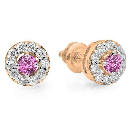 0.50 Carat (ctw) 18K Rose Gold Real Round Cut Pink Sapphire & White Diamond Ladies Cluster Stud Earrings 1/2 CT