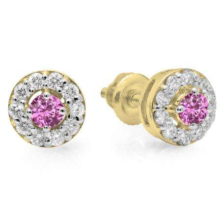 0.50 Carat (ctw) 18K Yellow Gold Real Round Cut Pink Sapphire & White Diamond Ladies Cluster Stud Earrings 1/2 CT