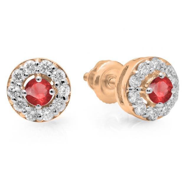 0.50 Carat (ctw) 10K Rose Gold Real Round Cut Ruby & White Diamond Ladies Cluster Stud Earrings 1/2 CT