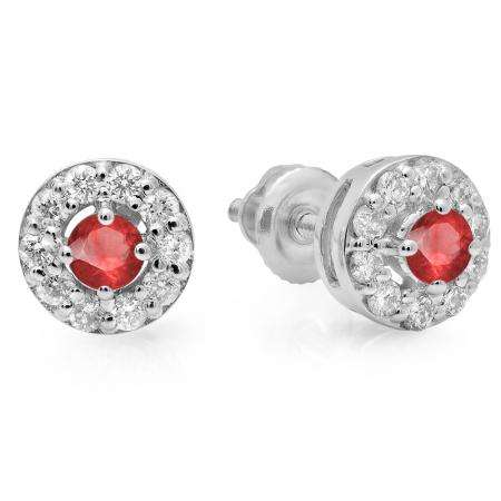 0.50 Carat (ctw) 14K White Gold Real Round Cut Ruby & White Diamond Ladies Cluster Stud Earrings 1/2 CT