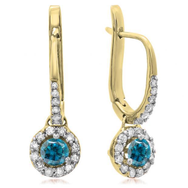 0.45 Carat (ctw) 10K Yellow Gold Round Blue & White Diamond Ladies Halo Style Dangling Drop Earrings 1/2 CT