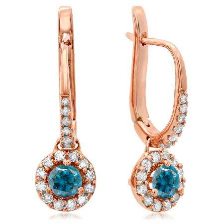 0.45 Carat (ctw) 18K Rose Gold Round Blue & White Diamond Ladies Halo Style Dangling Drop Earrings 1/2 CT