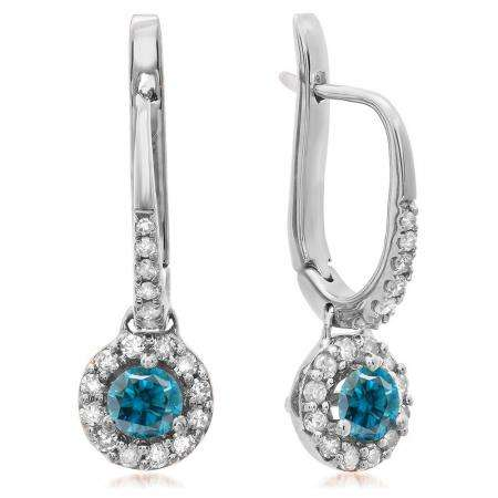 0.45 Carat (ctw) 18K White Gold Round Blue & White Diamond Ladies Halo Style Dangling Drop Earrings 1/2 CT