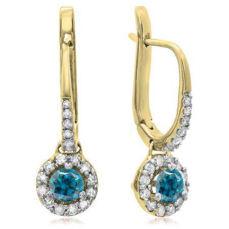 0.45 Carat (ctw) 18K Yellow Gold Round Blue & White Diamond Ladies Halo Style Dangling Drop Earrings 1/2 CT