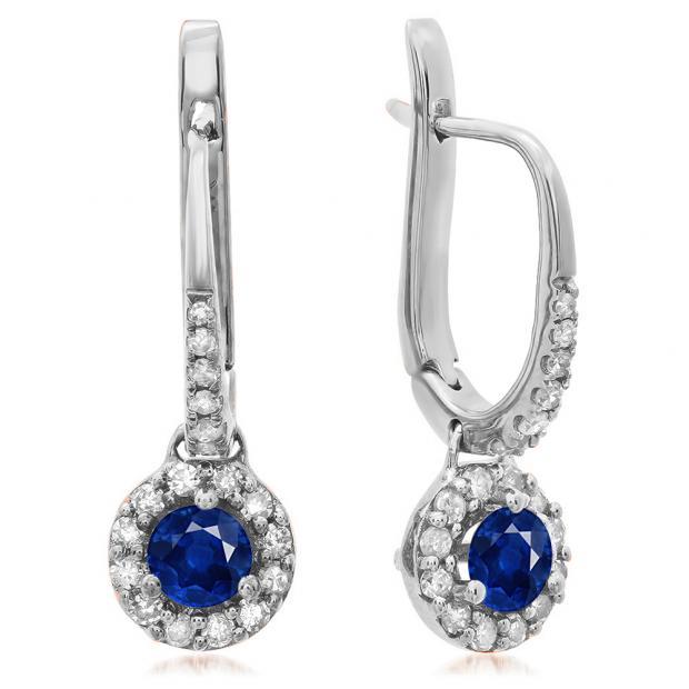 0.45 Carat (ctw) 18K White Gold Round Blue Sapphire & White Diamond Ladies Halo Style Dangling Drop Earrings 1/2 CT