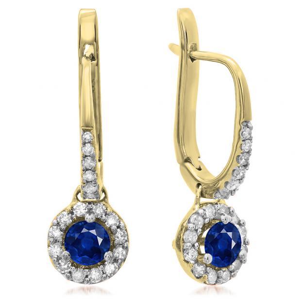 0.45 Carat (ctw) 18K Yellow Gold Round Blue Sapphire & White Diamond Ladies Halo Style Dangling Drop Earrings 1/2 CT